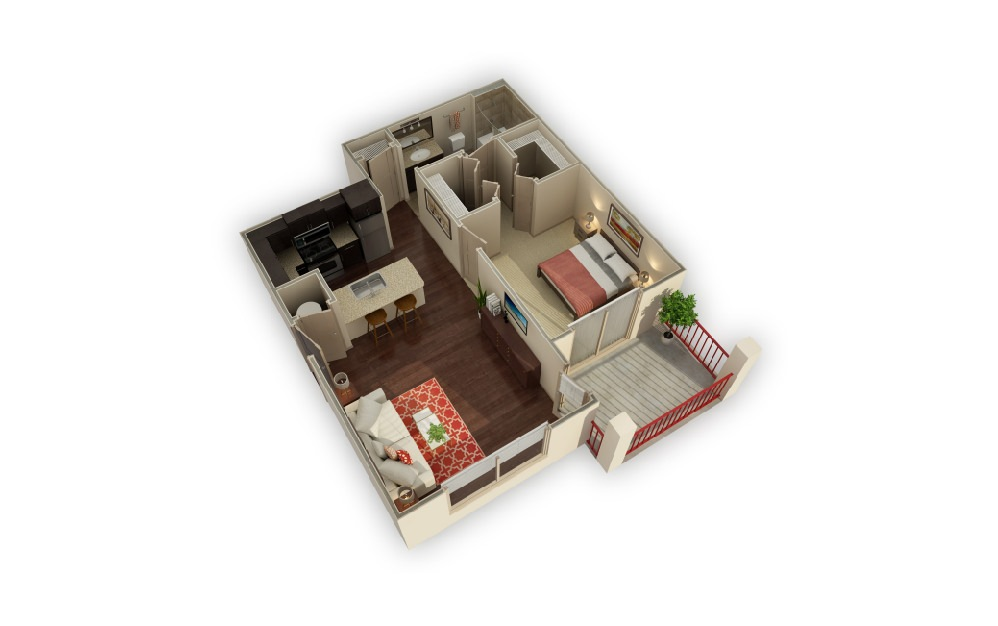 A1 Driftwood - 1 bedroom floorplan layout with 1 bath and 699 square feet.