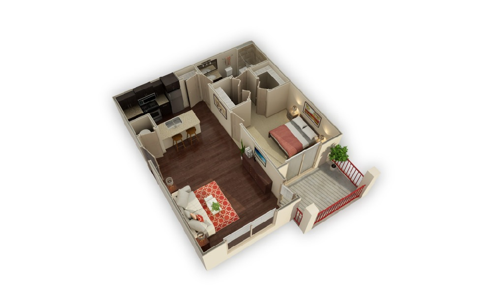 A2 Longhorn - 1 bedroom floorplan layout with 1 bath and 748 square feet.