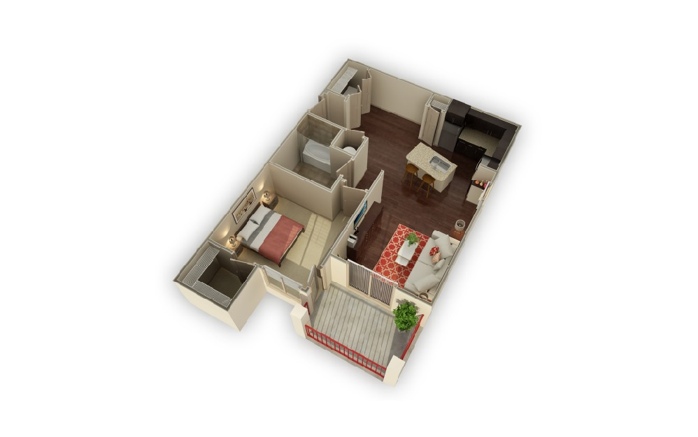 A3 Parmer - 1 bedroom floorplan layout with 1 bath and 819 square feet.