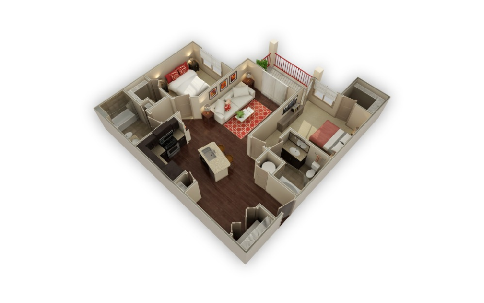 B2 The Wimberly - 2 bedroom floorplan layout with 2 baths and 1097 square feet.
