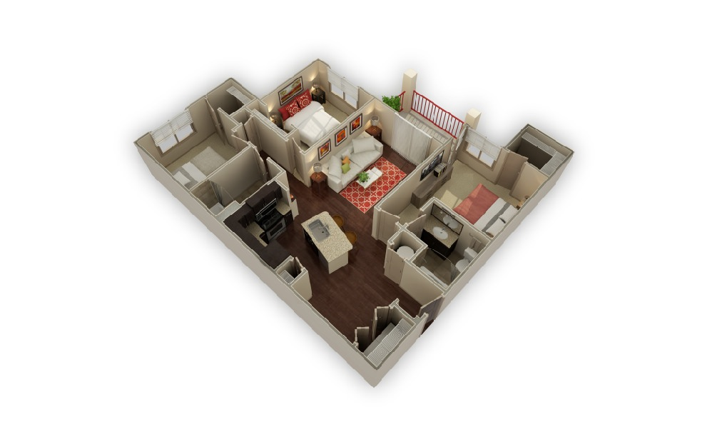C1 The Legend - 3 bedroom floorplan layout with 2 baths and 1238 square feet.