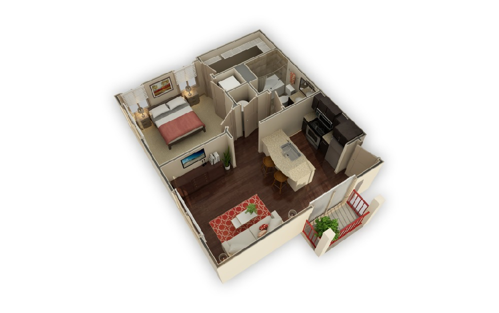 CH Sunset - 1 bedroom floorplan layout with 1 bath and 592 square feet.